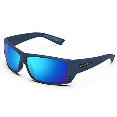 TOREGE Polarized Sports Sunglasses for Men Women Cycling Running Driving Fishing Golf Baseball Glasses TR23 (Matte Blue&Blue&Revo Ice Blue Lens)