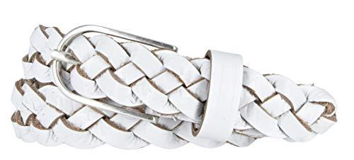 Vanzetti Damen Gürtel Leder geflochten Rindleder Damengürtel 25 mm Ledergürtel schmal (100, Weiß)