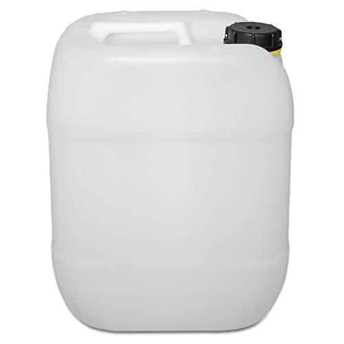 20 Liter Getränke Wasser Camping Leerkanister Natur mit Schraubdeckel   Lebensmittelecht   Tragbar   Robust und Langlebig   BPA Frei   Made in Germany