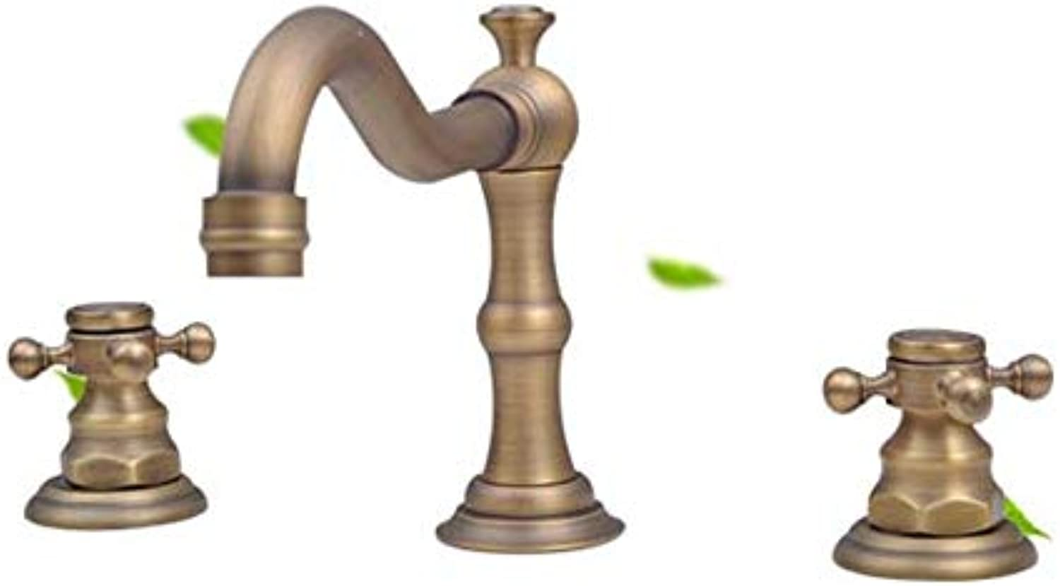 HDLWIS Badezimmerwand Wasserhahn, kreativer Wasserhahn europischen dreiteiligen Spiralhahn, Sink Faucet Antique Copper Basin Mixer Tap