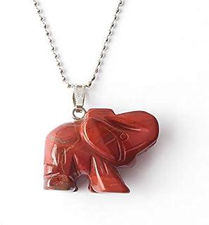 Natural Gemstone Necklace Pendant 36 * 28mm Elephant Pendant Yellow Tiger Eye Red Jasper Rose Quartz Stone Charms Jewelry...