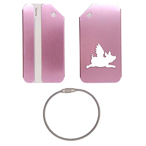 FLYING PIG SILHOUETTE STAINLESS STEEL - ENGRAVED LUGGAGE TAG - SET OF 2 (ROSE GOLD) - FOR ANY TYPE OF LUGGAGE, SUITCASES, GYM BAGS, BRIEFCASES, GOLF BAGS
