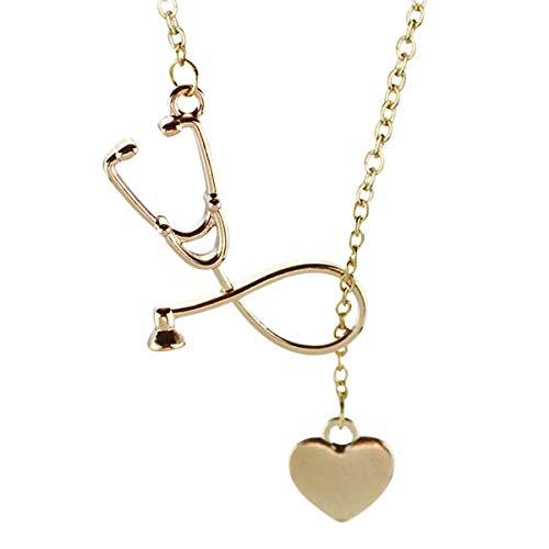 Amosfun Collar con colgante de corazón con diseño de estetoscopio para mujeres y niñas, regalo para el día de San Valentín (oro rosa)