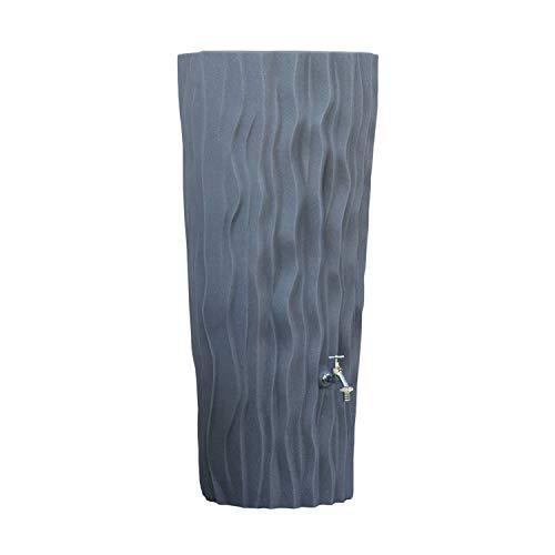 3P Technik Filtersysteme Regentonne grau Regenwassertank Alana 160 Liter aus UV- und witterungsbeständigem Material. Regenwassertonne mit integrierter Pflanzschale und hochwertigen Messinganschlüssen