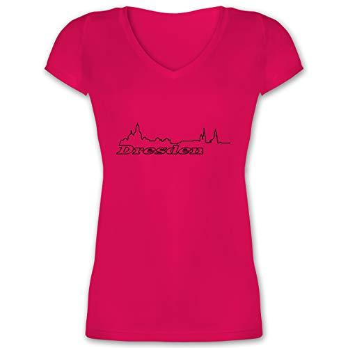 Skyline - Dresden Skyline - S - Fuchsia - Silhouette - XO1525 - Damen T-Shirt mit V-Ausschnitt