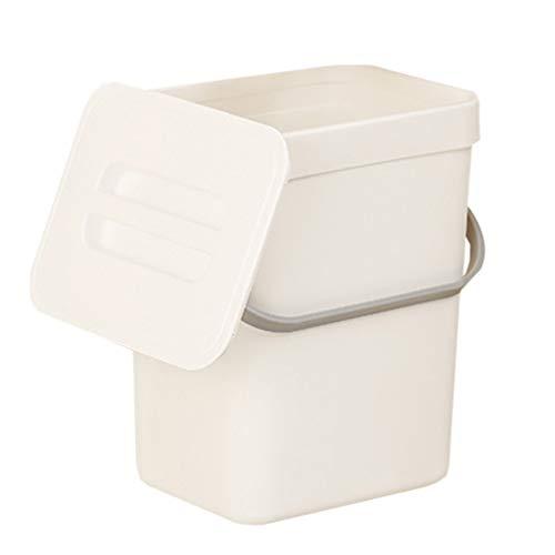 Hemoton - Papelera de plástico con tapa pequeña para colocar debajo del encimera de la cocina o el interior colgado, recipiente para residuos de alimentos, cubo de compost montado