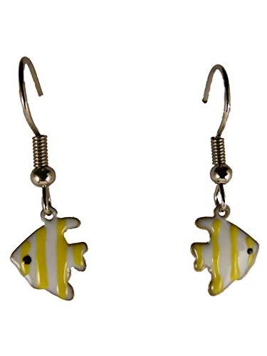 Ohrringe Hänger Ohrhänger Fisch Meer Aquarium Skalar weiß/gelb Haustier Tier 13.591