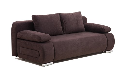 Collection AB ULM Sofa Schlafsofa, Mikrofaser, braun, 98 x 200 x 85 cm