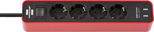 Brennenstuhl Ecolor Steckdosenleiste 4-fach mit USB-Ladebuchse (Steckerleiste mit 2x USB Charger, Schalter und 1,5m Kabel) rot/schwarz