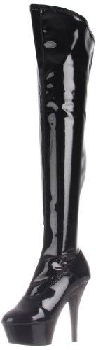Pleaser KISS-3000, Damen Over-Knee Stiefel, Schwarz (Schwarz (Blk Str Pat/Blk)), 36 EU (3 Damen UK)