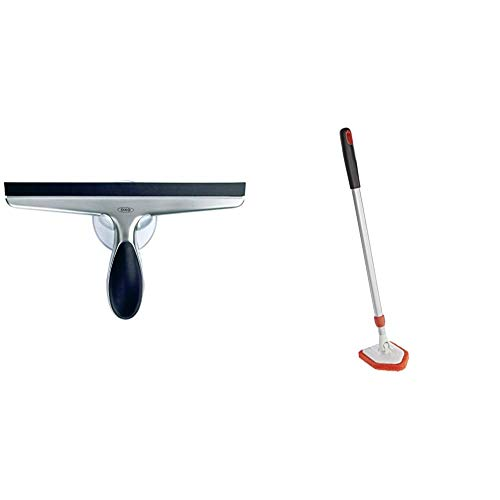 OXO Good Grips Stainless Steel Squeegee & Good Grips Extendable Tub and Tile Scrubber