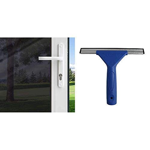 Gila Privacy Black Static Cling Residential DIY Window Film No Glue No Adhesive 3ft x 6.5ft (36in x 78in) & Ettore 8-Inch All Purpose Window Squeegee with Lifetime Silicone Rubber Blade