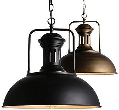 LLCX Pantalla de Retro, techos de iluminación Industrial nórdicos, rústica de Metal Negro Semi-incrustado luz Colgante, Casquillo E27 para la Barra de decoración de la habitación Restaurante del Club: Amazon.es: Hogar
