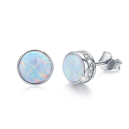 Pendientes de ópalo para mujer, de plata de ley, hipoalergénicos, con bisel de ópalo azul, para orejas sensibles