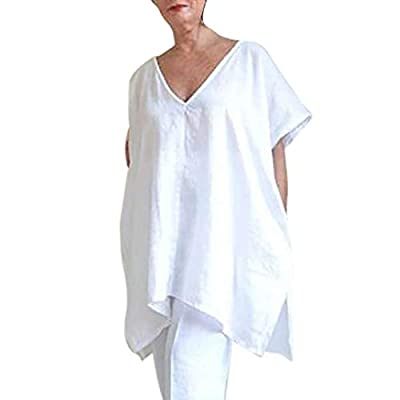RAINED-Women Casual Linen Tops Blouse Plus Size Short Sleeve T-Shirt V-Neck Loose Cover Ups Pure Tunic Dress Party Dress