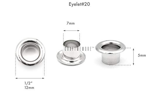 """CRAFTMEMORE 1/4"""" Hole Size 100 Sets Silver Tone Metal Grommets Eyelets with Washers for Bead Cores, Clothes, Leather, Canvas (Silver, 100 Pack)"""