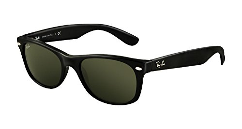 Ray-Ban RB2132 New Wayfarer Sunglasses Unisex (52 mm, Black Frame Solid Black Lens)
