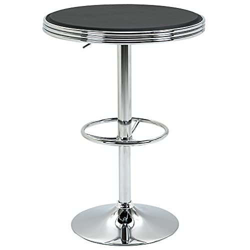 HOMCOM Round Height Adjustable Pub Table Counter Bar Table with Faux Leather Tabletop and Adjustable Footrest for Dining Room, Home Bar