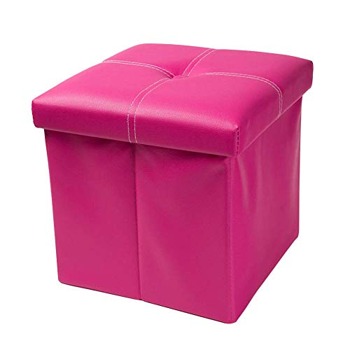 FSYGZJ Faux Leather Cube Folding Storage Ottomans Foot Rest,Stool Seat Storage Chest For Kids Puppy Step Coffee Table-Pink 30x30x30cm(12x12x12)