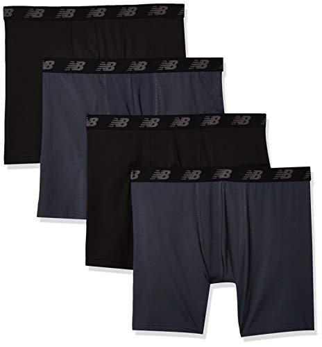 New Balance Men's Standard Boxer Brief, Thunder/Thunder/Black/Black, Medium