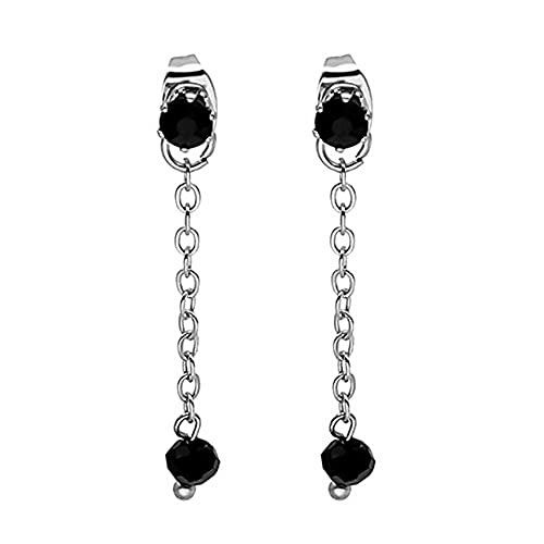 Fancysvccy Pendientes Pendientes de botón Cristal Negro Borla Cadena Nicho Temperamento Estilo Ins Pendientes de Moda Joyería Femenina