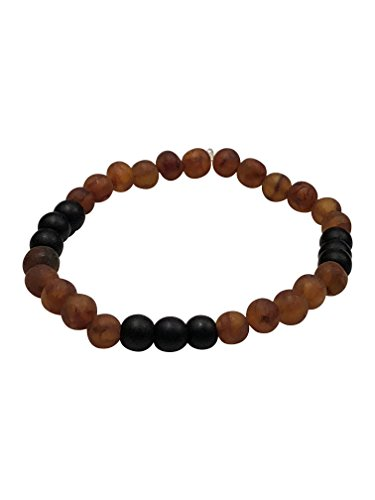 Baltic Amber Adult Bracelet - Blocks Radiation - Pain Relief for Carpel Tunnel, Arthritis, Migraines - Certified Amber and Gemstones (Raw Cognac + Shungite)
