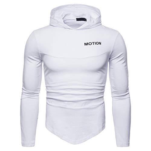 Sweat-Shirt à Capuche Homme,FNKDOR Hommes Hiver Irrégulier Solide Encapuchonné Patchwork Impression Manche Longue Hiver Slim Fit Hauts Blouses(A Blanc,M)