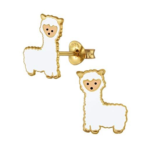 Llama Alpaca Animal Earrings, Sterling Silver with Gold Plating Gift - Extra Small