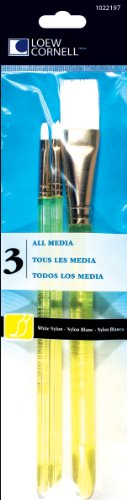 Loew-Cornell All Media Brush Set, White Nylon, 3-Piece