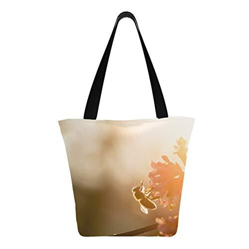 Honey Bee Polinato Flor amarilla 11 × 7 × 13 pulgadas Bolsas de supermercado de poliéster resistente lavables a máquina para carrito Bolsas reutilizables reutilizables plegables para co