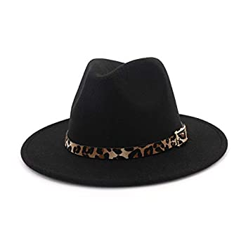 HUDANHUWEI Women s Wide Brim Felt Fedora Panama Hat with Leopard Belt Buckle Black