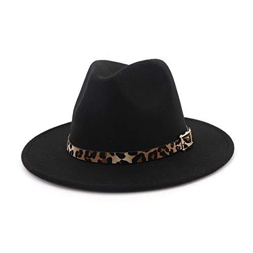 HUDANHUWEI Women's Wide Brim Felt Fedora Panama Hat with Leopard Belt Buckle Black