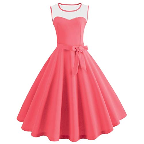 Bluelucon Vintage Elegante jurk voor dames, 50 stuks, rockabilly-jurk, mouwloos, cocktailjurk, avondjurk, vintage, Audrey Hepburn, petticoat, plooirok, A-lijn