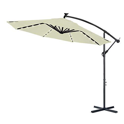 LARS360 Sombrilla Parasol Excéntrico Banana con Solar LED para Terraza Jardín Balcón Mástil de Aluminio y 100% Poliester Tela, con Base de Cruz, Color Beige ø350 cm Protección UV y Impermeable
