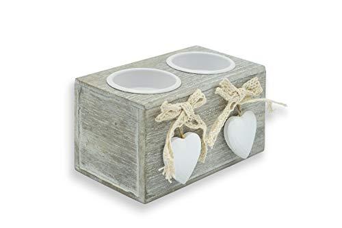 Porta Candele in Legno, Portacandele da Tavolo con Cuore da 2, Soprammobili Shabby Chic, Candelabri moderni cm 12x6,5 (2 candele)