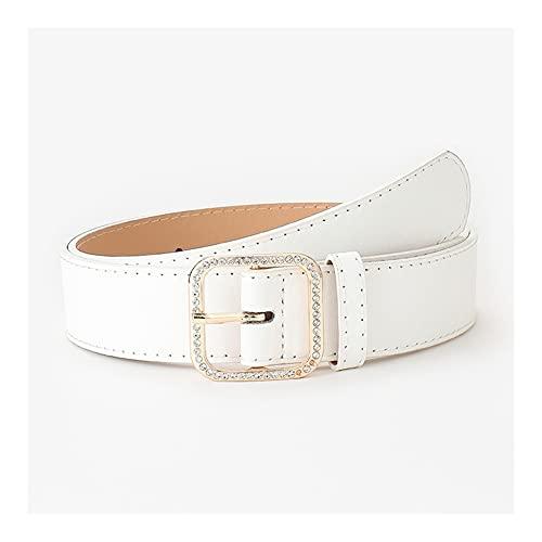 DSJTCH Punk mujeres cinturones de lujo marca personalizada cuadrada redondo redondo doble anillo diamoras de diamante de metal hebilla cuero cintura correa todos los jeans casuales damas femenino moda
