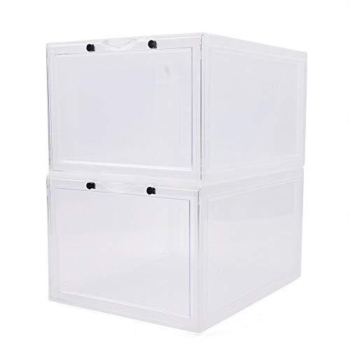 Kaibrite 2 cajas de zapatos transparentes apilables magnéticas grandes para zapatos deportivos, de plástico