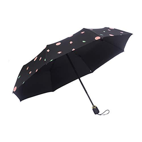SJY Mini Travel Paraplu, Pocket Paraplu Opvouwbare Compact, Automatische Opening en Sluiting, Zwarte Kunststof Zonnebrandcrème Uv Bescherming Dames Paraplu
