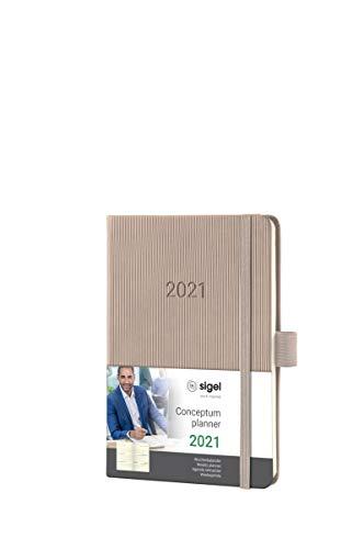 SIGEL C2161 Terminplaner Wochenkalender 2021, ca. A6, Hardcover, taupe, mit vielen Extras, Conceptum - weitere Modelle