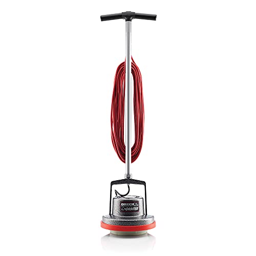 Oreck Commercial Orbiter Hard Floor Cleaner Machine with Brush, Multi-Purpose Hardwood Wood Laminate Carpet Tile Concrete Grout Marble Floor Cleaning, 50-Foot Long Cord, ORB550MC, Gray/Red