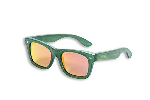 Mawaii Modell Kapua Koa-Grün-Rot-Orange-Polarized Lenses-FGV (Feel Good Vision) -INKL. Bambus-Box und Mikrofaserbeutel Gafas de Sol de bambú, Unisex Adulto, Verde, Large