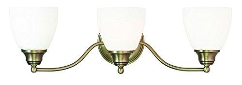 Livex Lighting 13673-01 Somerville 3-Light Bath Light, Antique Brass