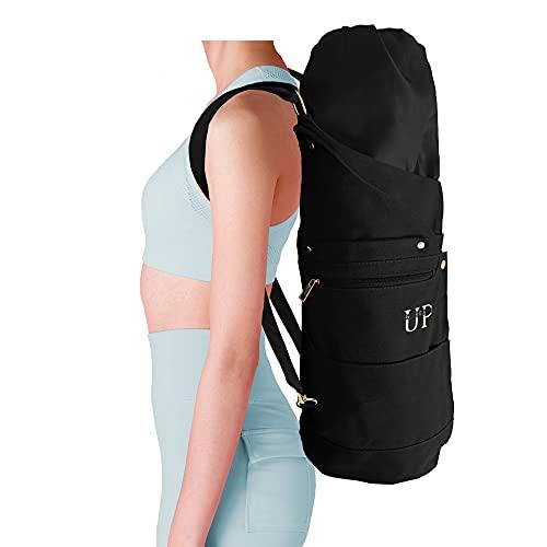 UP GREAT Yogatasche Yoga Rucksack aus Baumwolle Canvas Tasche für Yogamatte und Zubehör in Nirvana Schwarz