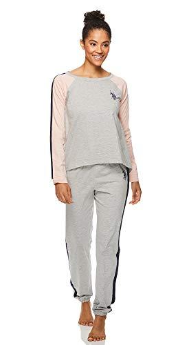 U.S. Polo Assn. Womens Long Sleeve Shirt and Lounge Pajama Pants Sleep Set Heather Grey Medium