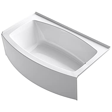KOHLER K-1118-RA-0 Expanse 60  x 30  To 36  Curved Alcove Bath with Integral Apron, Tile Flange and Right-Hand Drain, White