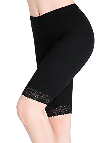 Damen Leggings Kurz Hose Unter Rock Knielange Leggins Mit Spitze - Stretch Weich
