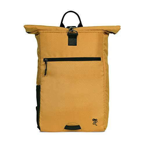FUCHS & REBELL® Rolltop Rucksack PIET – aus recyceltem PET für Damen & Herren – Nachhaltig und funktional - Laptop Rucksack für den Alltag, Uni, Business, Schule Reisen, Fahrrad – 15-22 L (Senfgelb)
