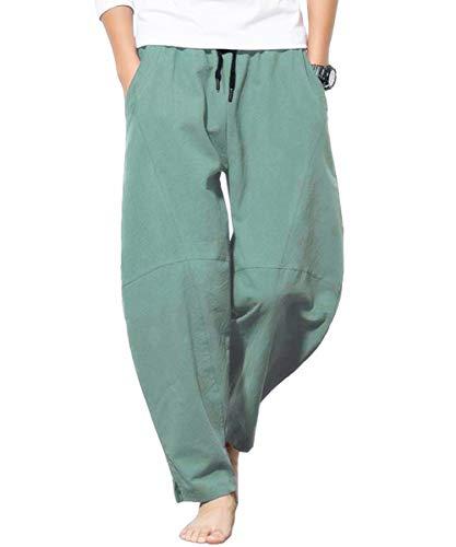 PERDONTOO Mens Casual Cotton Linen Pants Elastic Waist Loose Lounge Pants (2XL(W38-W40), Green)
