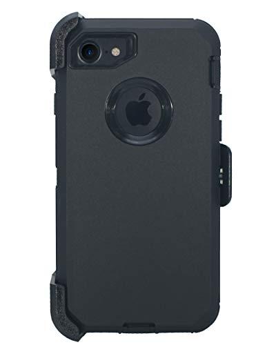 """Hande Muscle Series - Funda con clip para cinturón para iPhone 7, iPhone 8, iPhone SE 2020 (4,7"""") 2 en 1 con protector de pantalla y funda y soporte para golpes y caídas, color negro"""