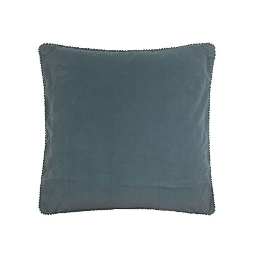 """2 X Filled Plain Velvet Pom Pom Blue 18"""" - 45cm Cushions"""